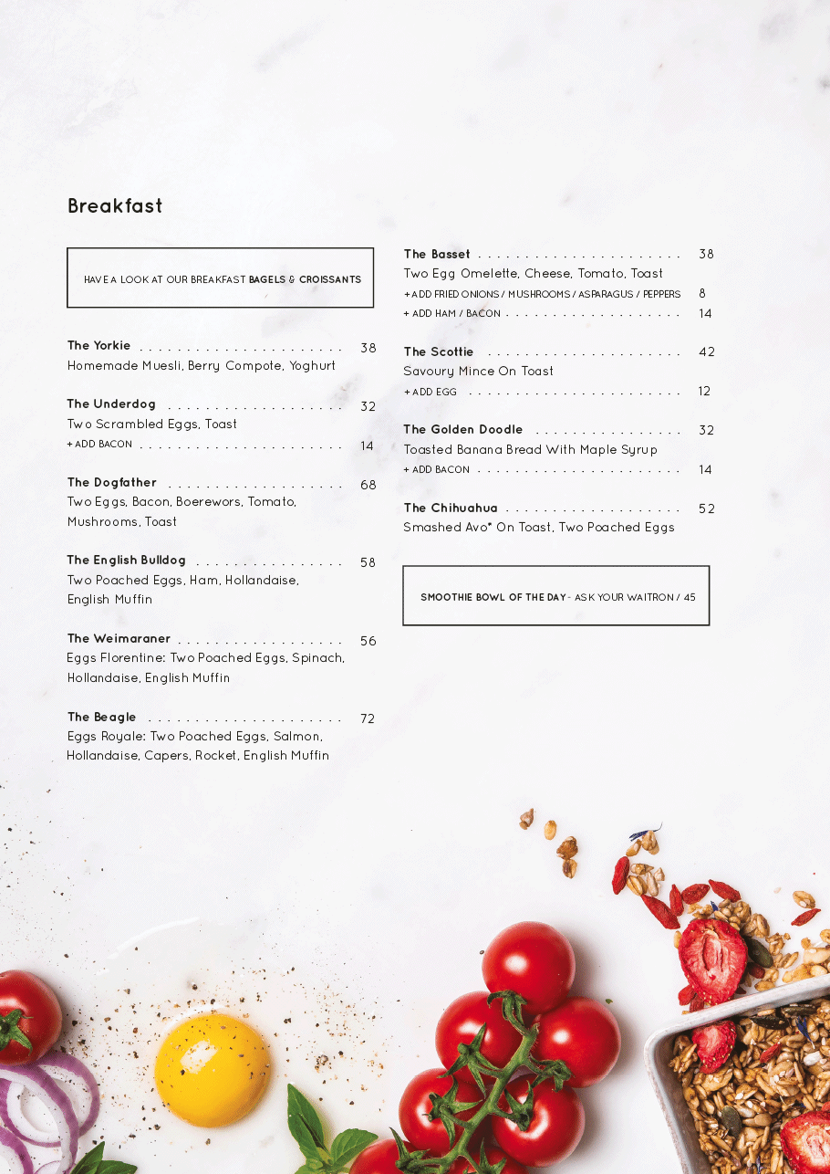 Cafe Frenchie : menu